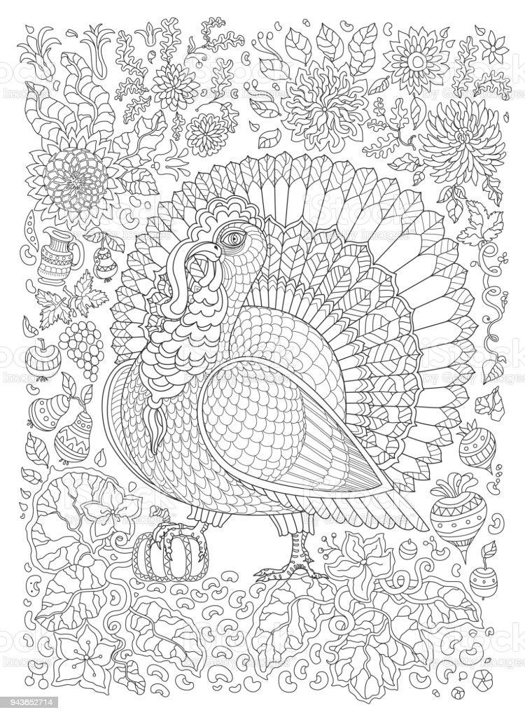 Ilustración de Doodle De Aves Ornamentales Fantástica Flor De ...