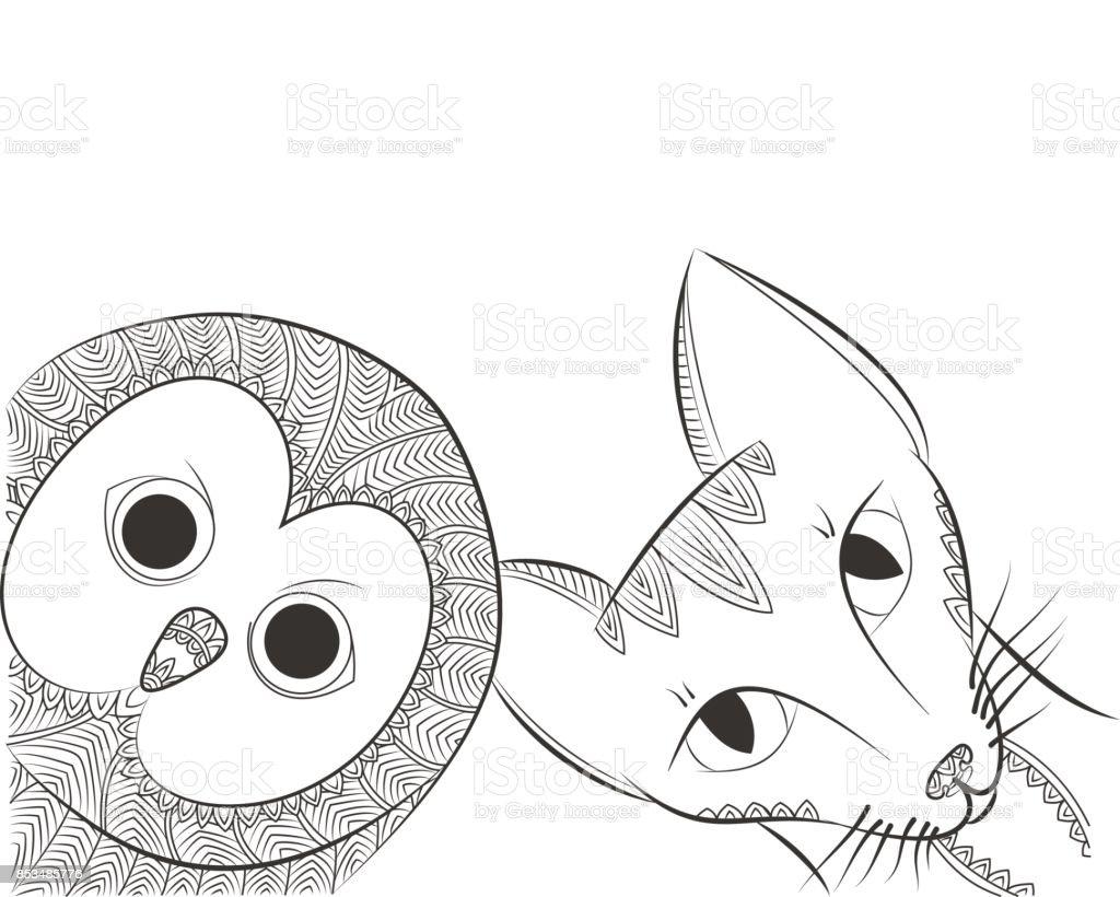 Zen Doodle Baykus Ve Kedi Kafasi Gece Kus Ve Hayvan Dolastirmak