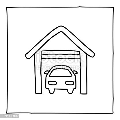 Doodle parking garage and car icon. Black white symbol with frame. Line art style graphic design element. Web button. Place for a car, parking allowed, paid garage concept. Vector illustration