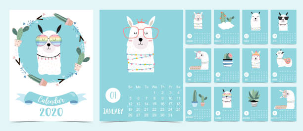 doodle pastel 2020 calendar set with llama,alpaca,cactus for children.can be used for printable graphic.editable element - animals calendar stock illustrations