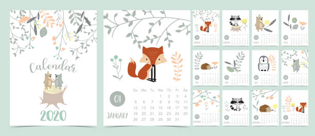 doodle pastel woodland calendar set 2020 with fox,porcupine,penguin,bear,skunk,flower,leaves for children.can be used for printable graphic.editable element - animals calendar stock illustrations