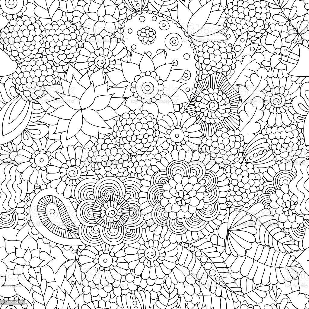 Doodle pattern black and white vector art illustration