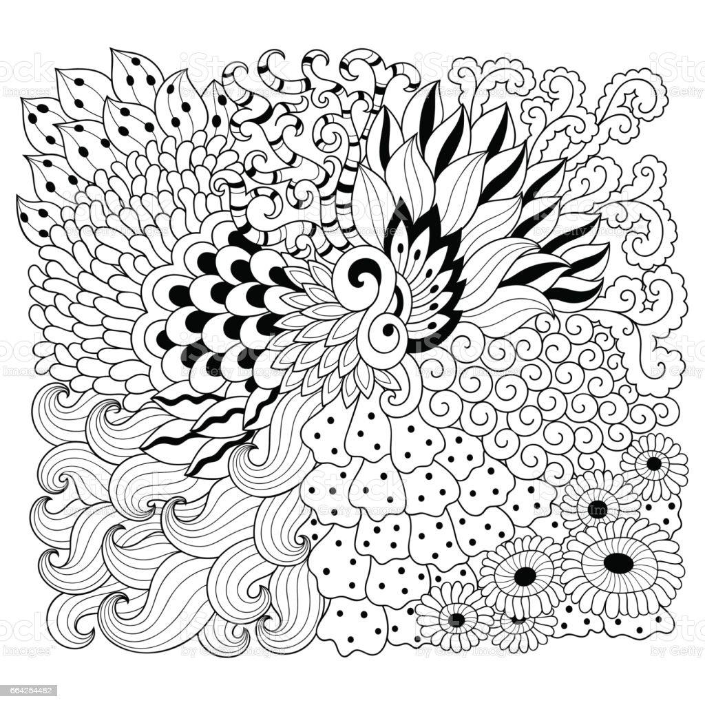 Doodle Desen Siyah Ve Beyaz Boyama Kitabı Için çiçek Desenli Soyut