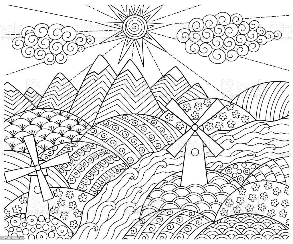 Doodle pattern in black, white. Landscape Pattern for coloring book. - ilustração de arte em vetor