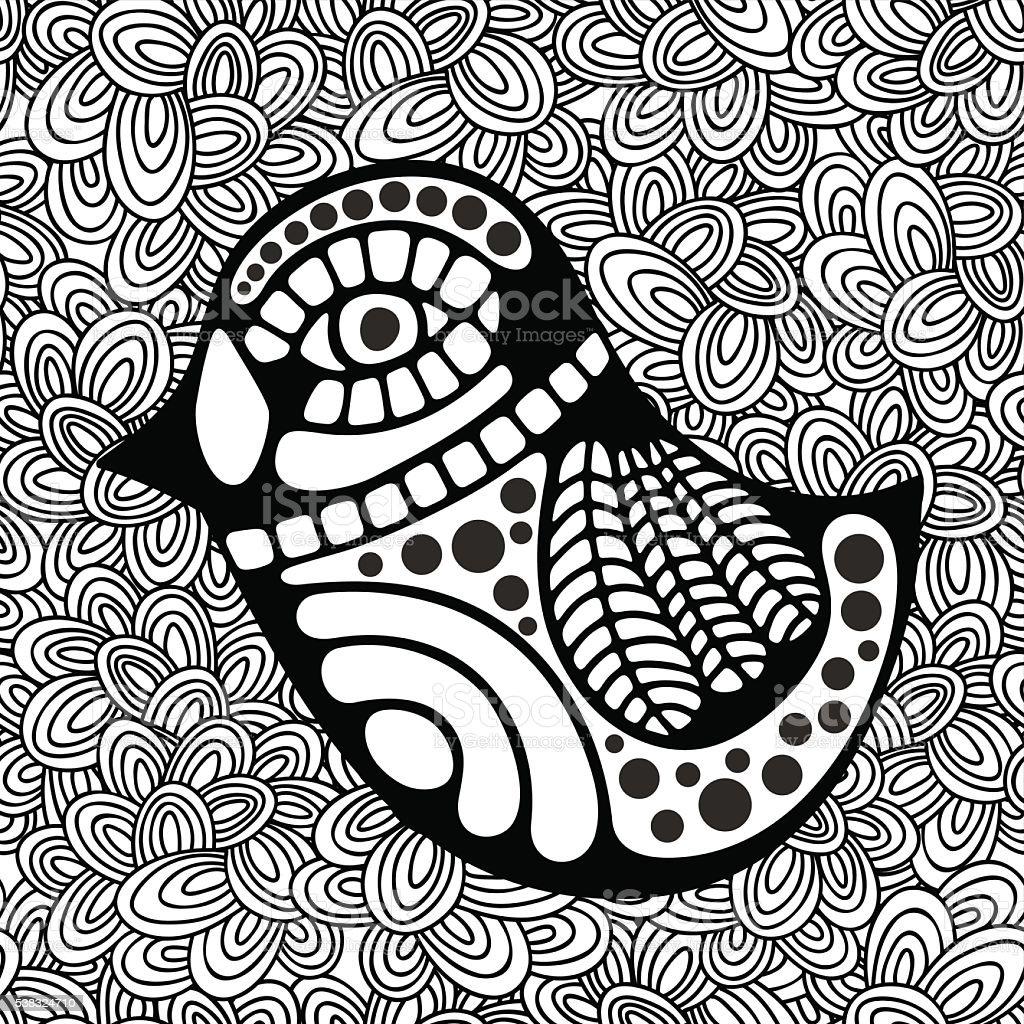 Garabatos Patrón Con Blanco Y Negro La Imagen Para Colorear Aves ...