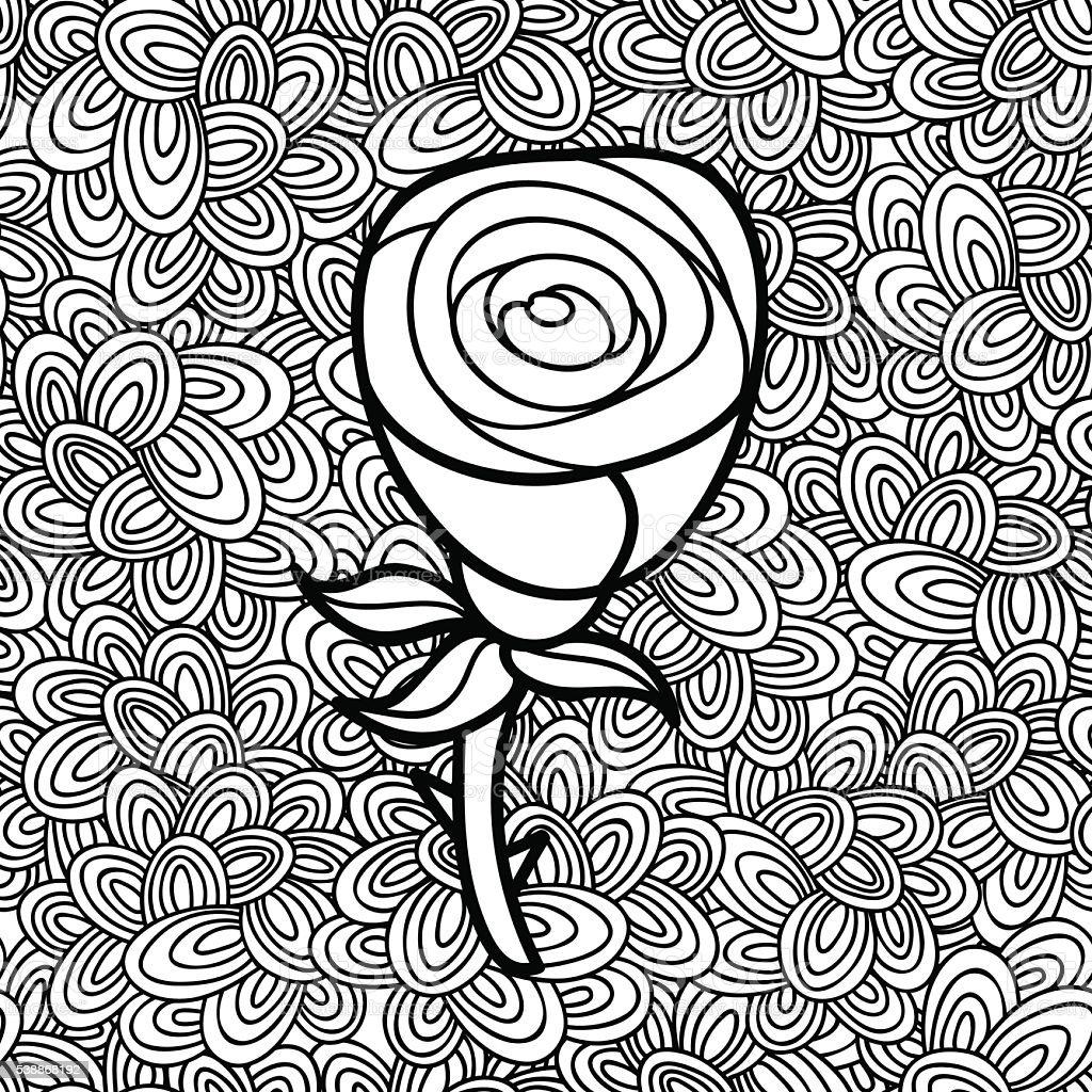Vetores De Doodle Padrão Com Preto E Branco Flor Imagem Para