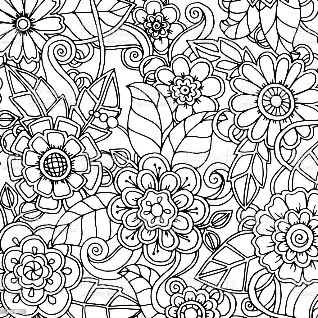 Doodle Pattern With Doodles Flowers And Paisley Stock ...