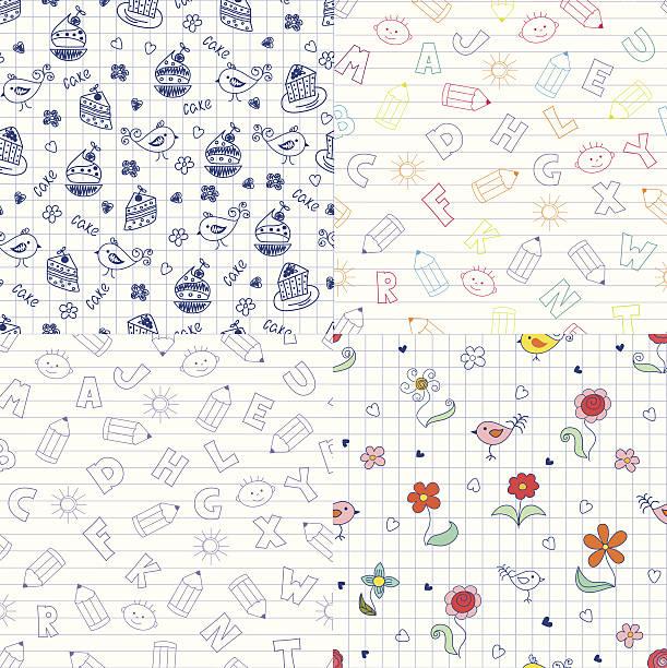 doodle muster - schulbedarfskuchen stock-grafiken, -clipart, -cartoons und -symbole