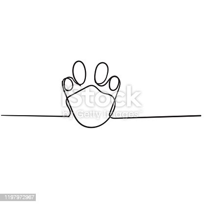 doodle paw illustration with cartoon line vector