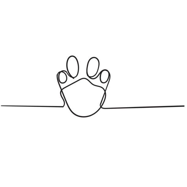 doodle pfote illustration mit cartoon linie vektor - einzelnes tier stock-grafiken, -clipart, -cartoons und -symbole