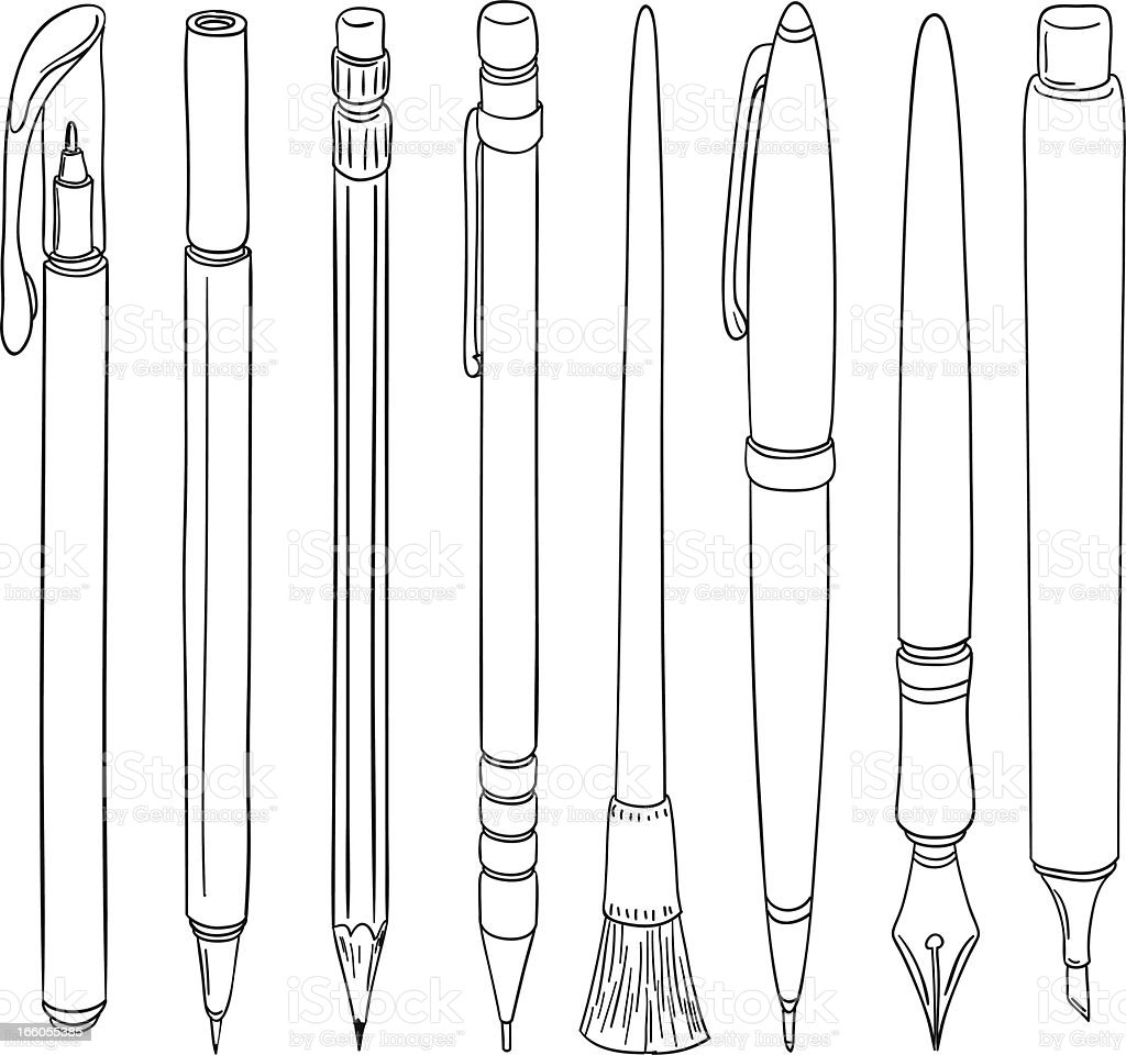 Doodle Pen collection royalty-free stock vector art