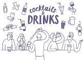 Doodle people drinking at the bar. Including set of  hands with drinks and bottles. Hand drawn brush vector cartoon illustration for your design.