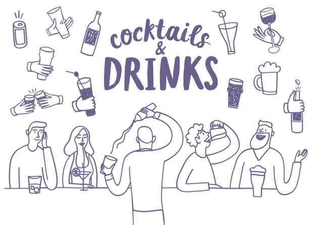 doodle people drinking at the bar - alcohol drink drawings stock illustrations