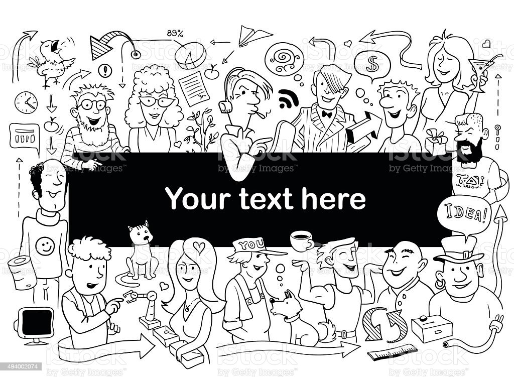 Doodle People Frame Funny Banner For Your Design Stock Vector Art ...