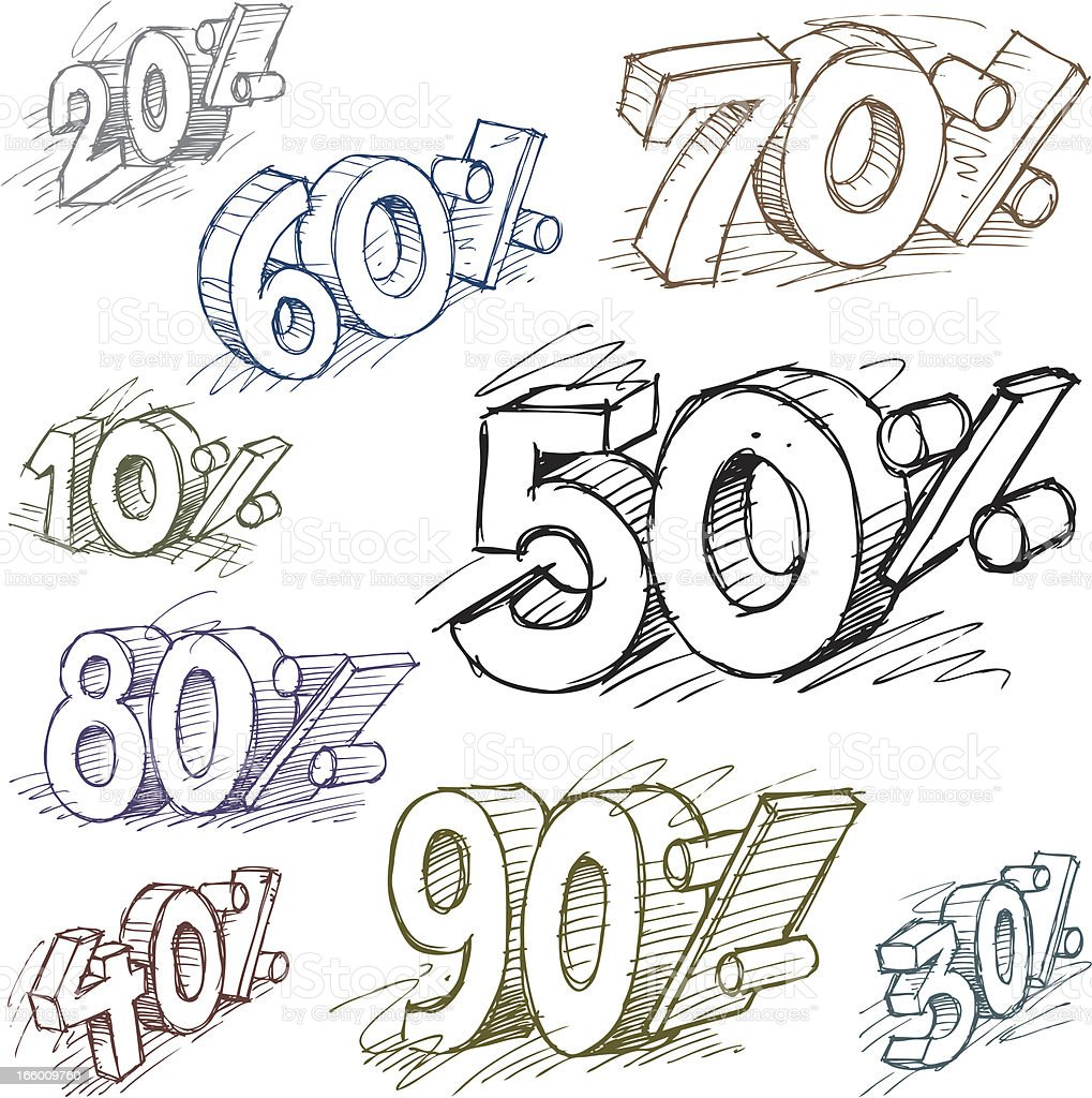 Doodle Percent Tags royalty-free doodle percent tags stock vector art & more images of business