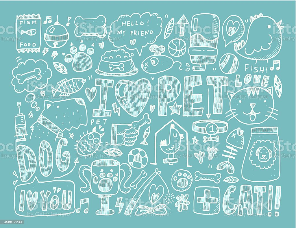 Doodle Pet Background Stock Vector Art & More Images of ...