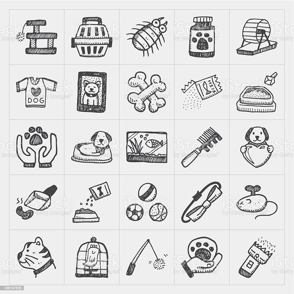 Doodle pet icons set in black drawings royalty-free doodle pet icons set in black drawings stock vector art & more images of animal