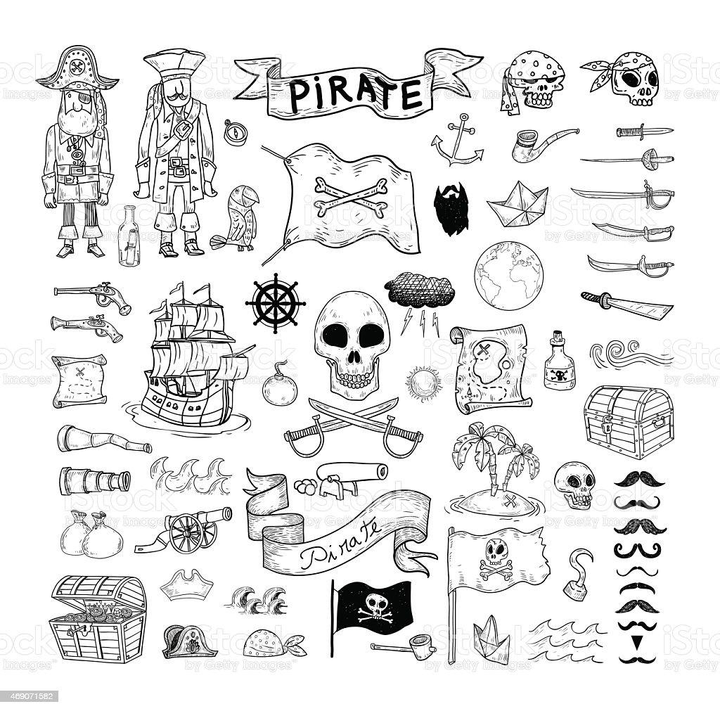 doodle pirate elememts, vector illustration. vector art illustration