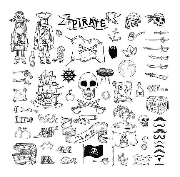 gekritzel pirate elememts, vektorgrafiken und illustrationen. - piratenschrift stock-grafiken, -clipart, -cartoons und -symbole