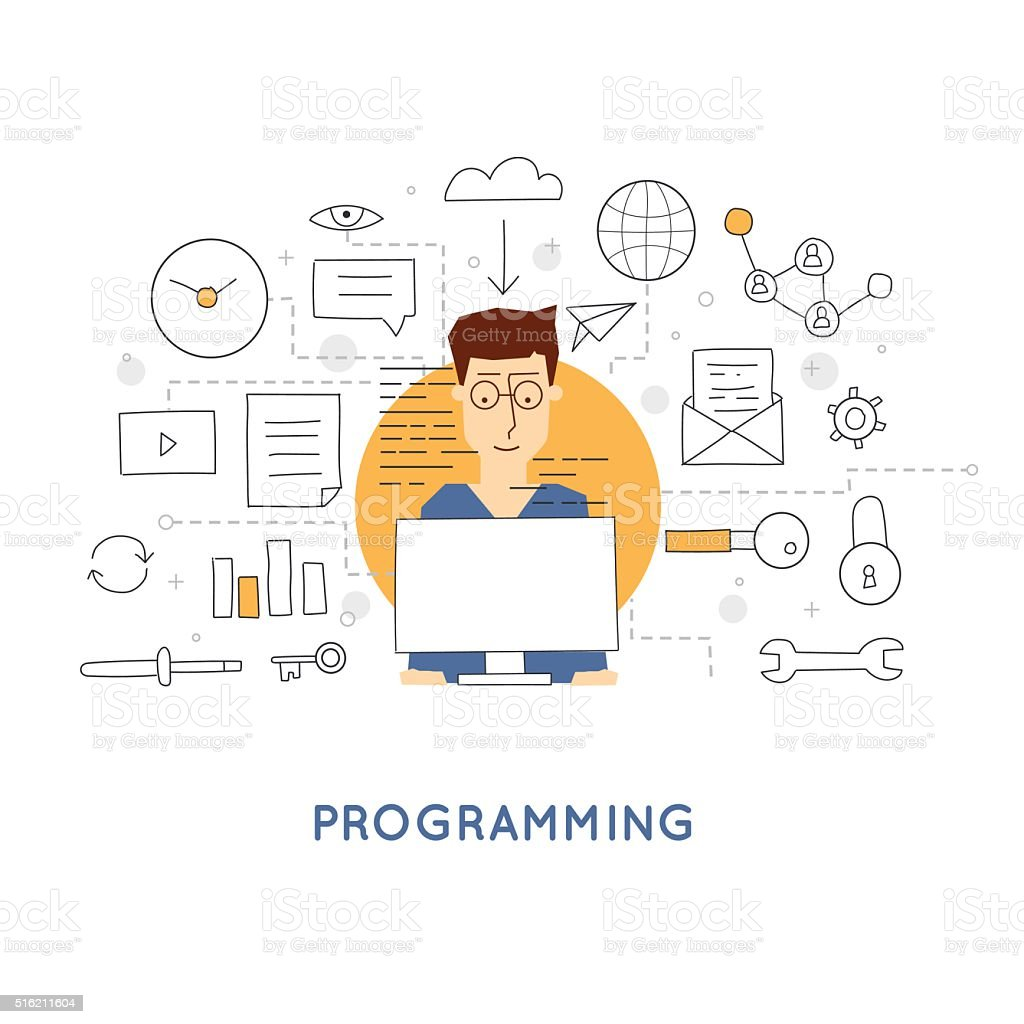 Doodle Process coding and html programming. Flat design vector illustration. vector art illustration