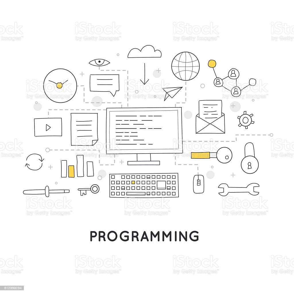 Doodle Process coding and html programming. vector art illustration