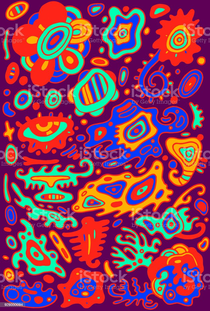 Doodle psychedelic colorful background with abstract surreal ornaments. Vector illustration. vector art illustration