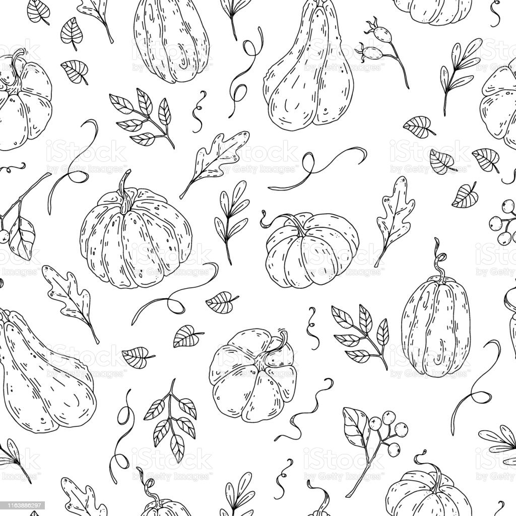 Doodle Pumpkin Seamless Pattern Stock Illustration Download Image Now Istock