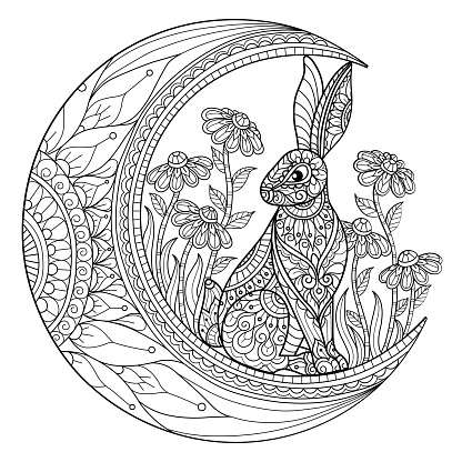 doodle Rabbit on the moon s adult coloring page, Illustration  style.