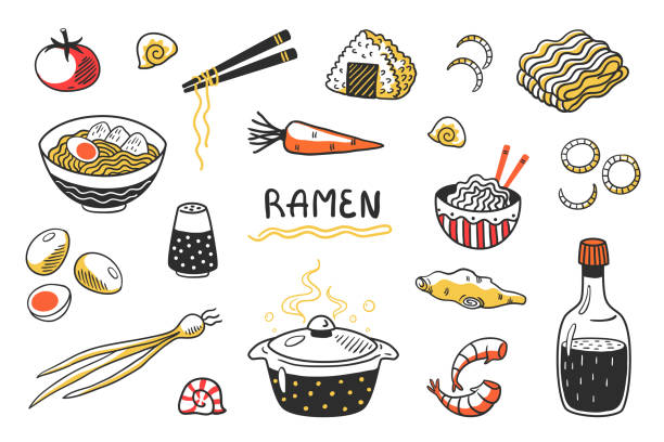 Doodle Ramen. Chinese hand drawn noodle soup with food sticks bowls and ingredients. Vector Asian food sketch set vector art illustration