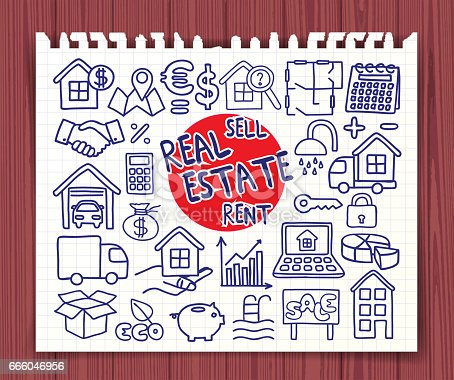 Real Estate set. Freehand doodle icons. Hand drawn doodle symbols collection. Graphic elements for web sites, corporate printables, educational posters, infogrpahics. Vector illustration