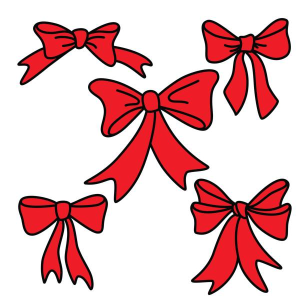 Doodle red gift bows for christmas or birthday vector art illustration