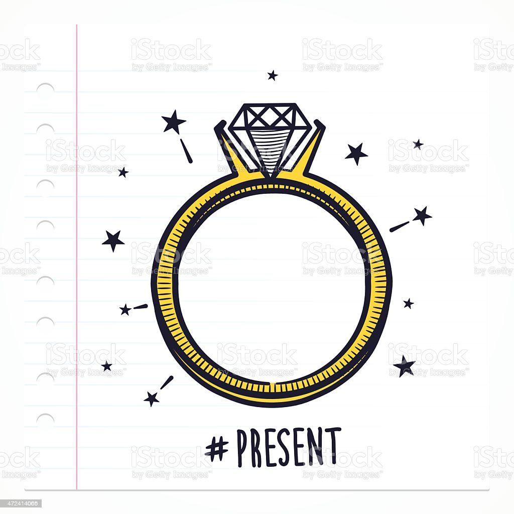 Doodle Ring With Diamond vector art illustration