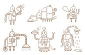 doodle robot characters...