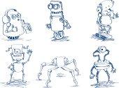 doodle robots vector illustration