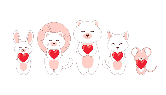Doodle romantic animals. Cartoon pets with red hearts standing in row. Cute mouse and kitten. White fox or funny bear. Baby characters set. Kawaii creatures. Vector invitation elements