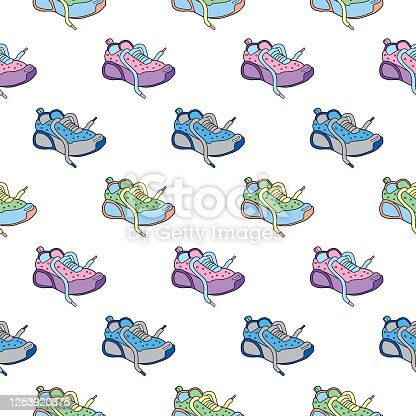 Vector seamless pattern of cute colorful doodle shoes.