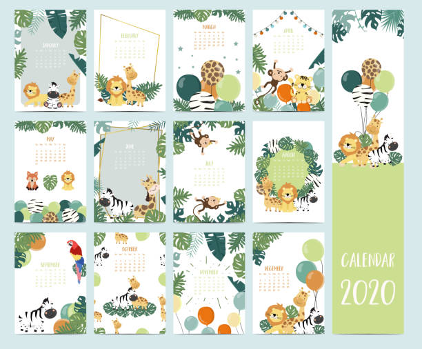 doodle safari animal calendar 2020 set with giraffe,parrot,lion,monkey for children.can be used for printable graphic.editable element - animals calendar stock illustrations