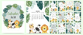 Doodle safari calendar set 2021 with lion, giraffe,zebra,monkey,palm for business.Can be used for printable graphic