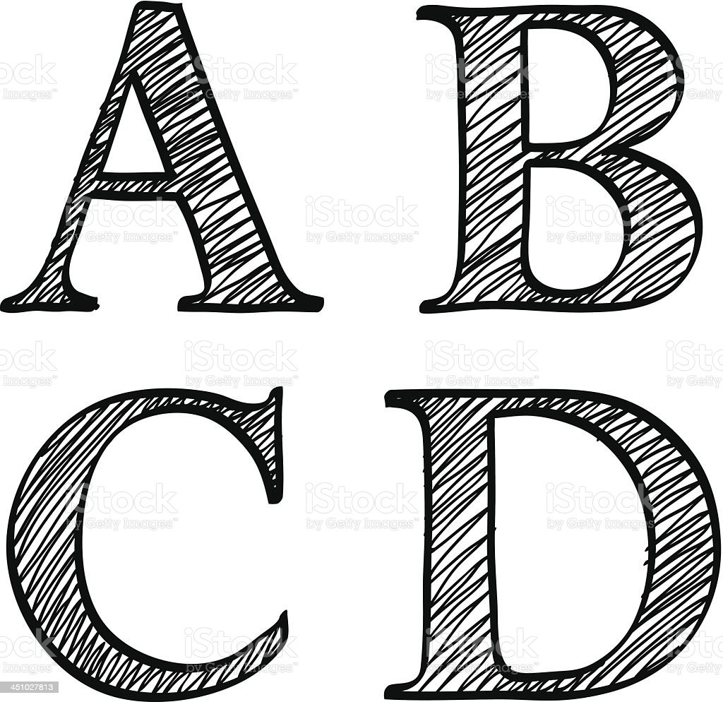 Doodle scribble sketch alphabet letters ABCD royalty-free doodle scribble sketch alphabet letters abcd stock vector art & more images of alphabet