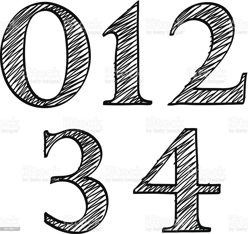 Doodle scribble sketch numbers digits 01234 royalty-free stock vector art