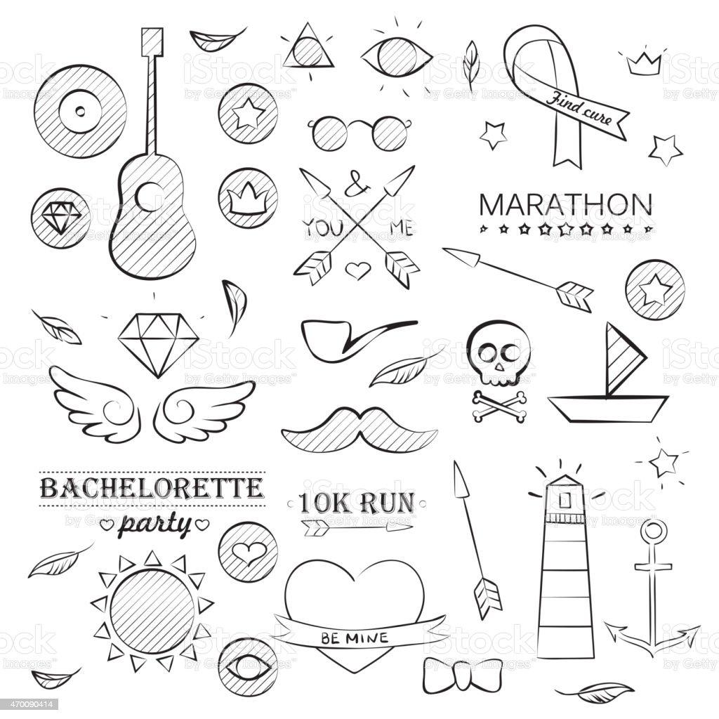 Doodle Sea Hand Drawn Objects Set vector art illustration
