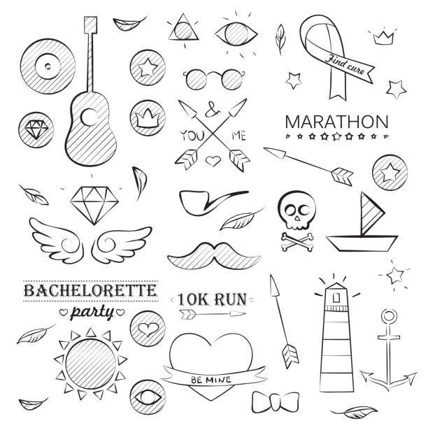 illustrations, cliparts, dessins animés et icônes de doodle objets ensemble dessiné à la main de la mer - tatouages diamants