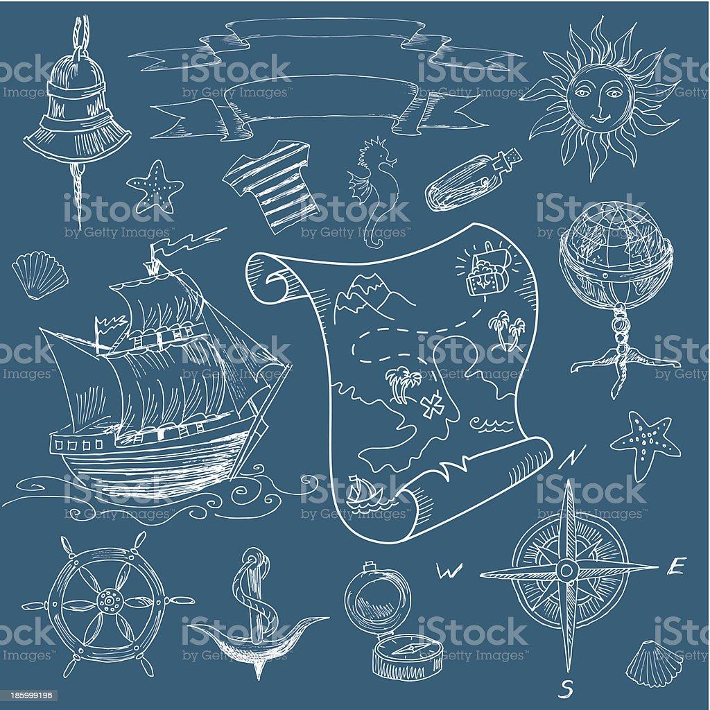 Doodle mar elementos vintage - ilustração de arte em vetor