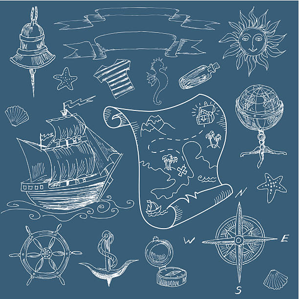 doodle sea vintage elements - treasure map backgrounds stock illustrations