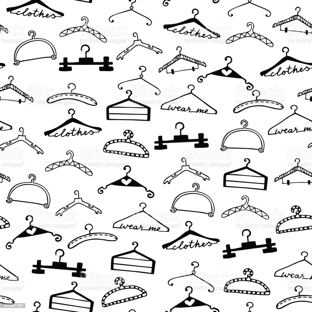Doodle seamless clothes hangers pattern
