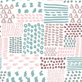 Hand drawn painted geometric seamless pattern . Doodle pattern.