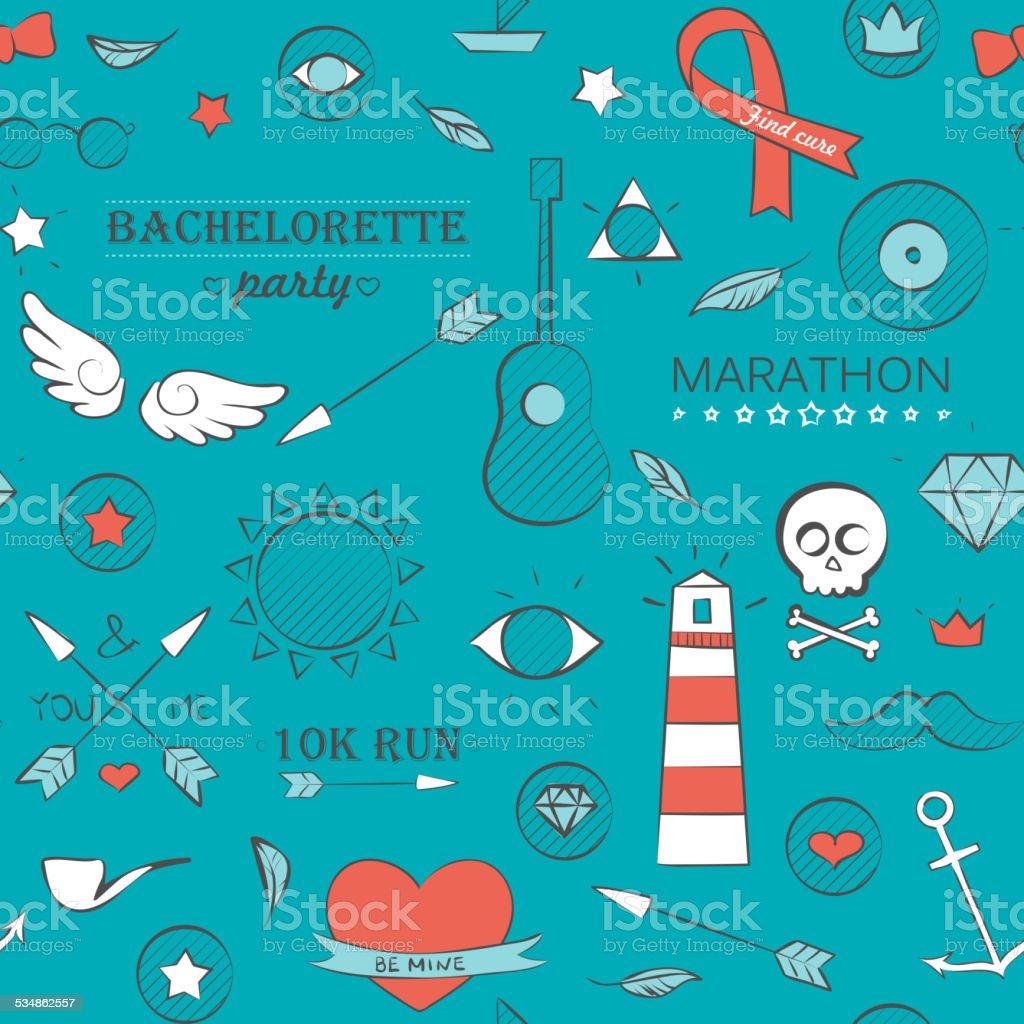 Doodle motif sans couture hipster sur turquoise - Illustration vectorielle