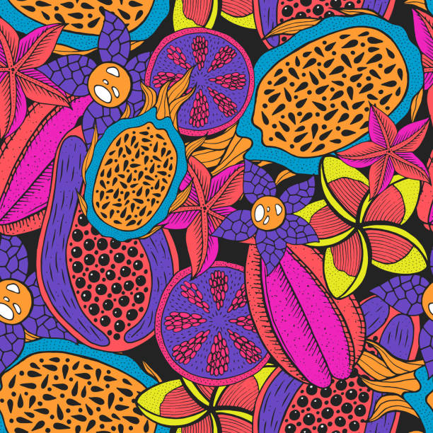Doodle seamless pattern on dark backdrop. Vector pattern. Neon colors rainforest texture. Bright fashion background. Tropical nature colorful design. Tropical bright backdrop. Sweet fruit. Doodle seamless pattern on dark backdrop. Vector pattern. Neon colors rainforest texture. Bright fashion background. Tropical nature colorful design. Tropical bright backdrop. Sweet fruit. avocado patterns stock illustrations