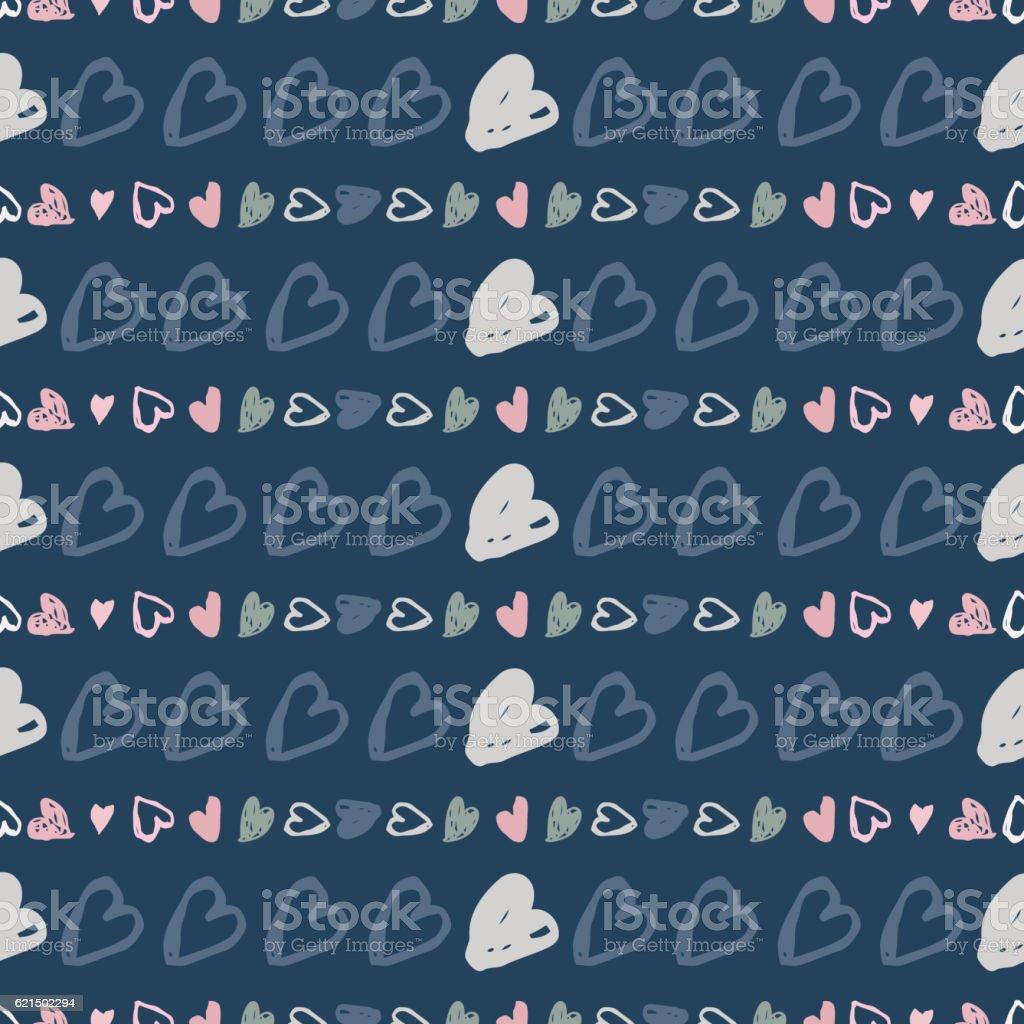 Doodle seamless pattern di cuori doodle seamless pattern di cuori - immagini vettoriali stock e altre immagini di amore royalty-free