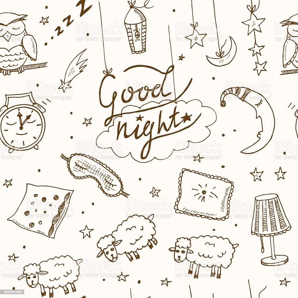 Doodle seamless pattern with images about good night vector art illustration
